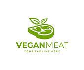 Vegetarian meat, design. Vegan steak with leaves vector design. Plant based meat illustration