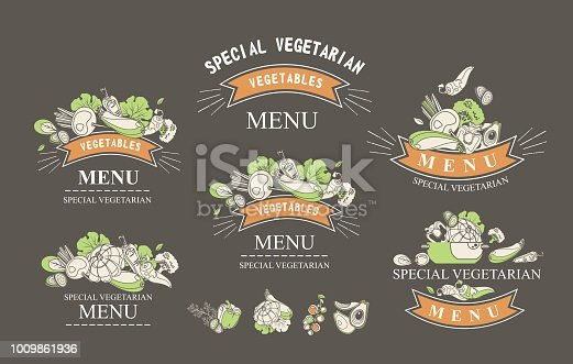 Set of labels with vegetarian and raw food diets, organic food, design elements of restaraan cafe packing organic products, detox drinks logo on a black background
