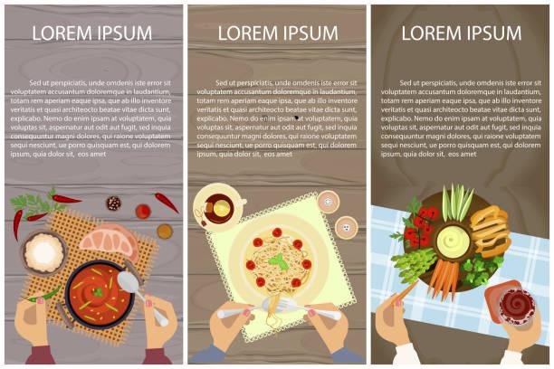 ilustrações de stock, clip art, desenhos animados e ícones de vegetarian menu for lunch - mediterranean food