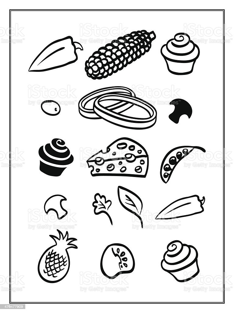 Vegetarian Pizza Ingredients Set Isolated On White royalty-free stock vector art