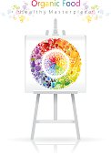 Vegetarian rainbow plate on canvas and easel