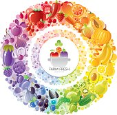 Vegetarian rainbow plate withe fruits, vegetables, nuts, berries + colorful Healthy food logo