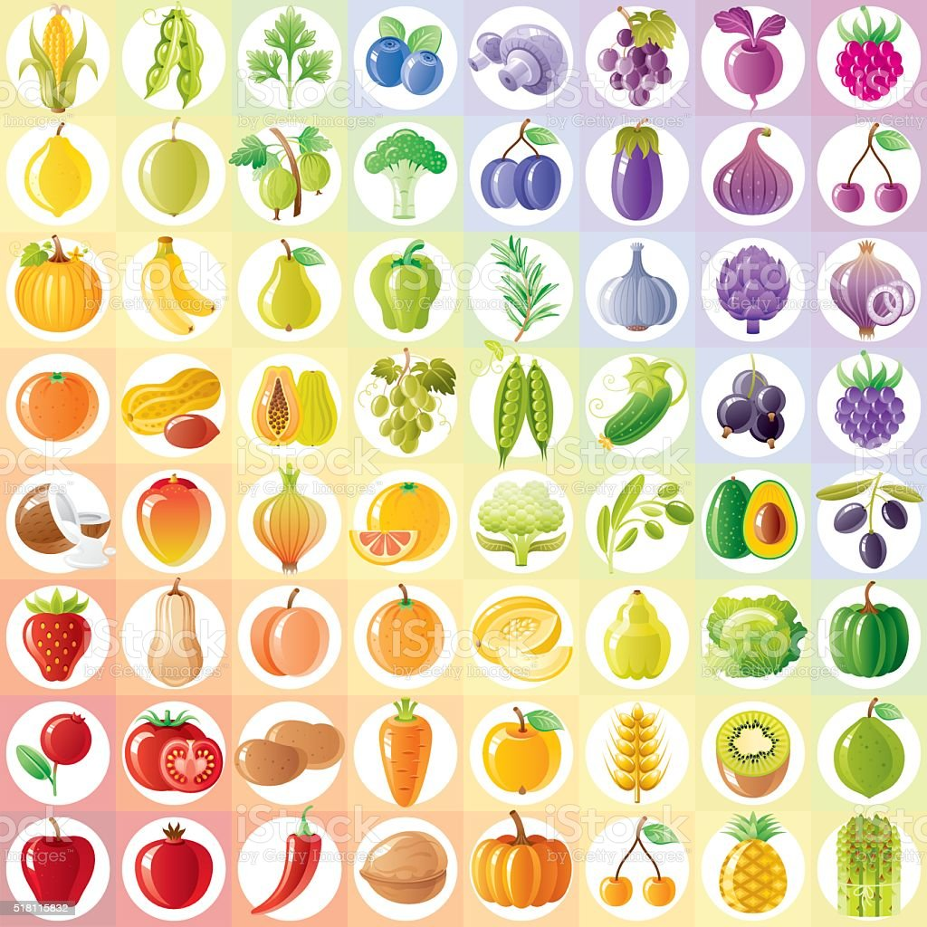 Vegetarian rainbow withe fruits, vegetables, nuts, berries vector art illustration