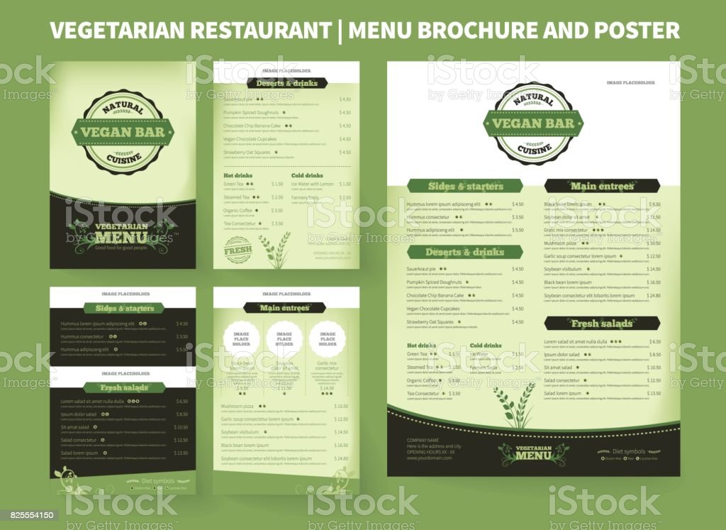 Vegetarian Restaurant Vector Brochure Template vector art illustration