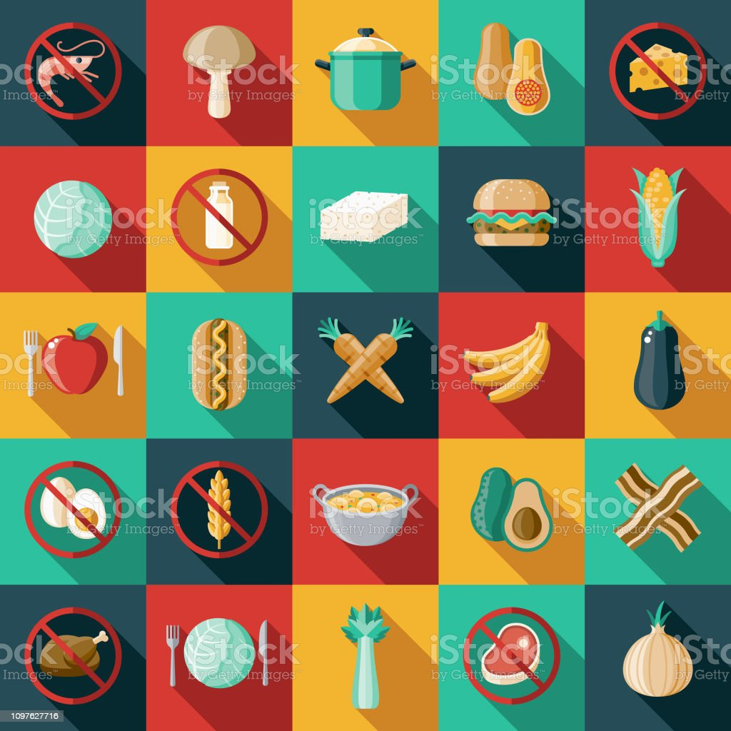 Vegetarian Vegan Flat Design Icon Set A flat design/thin line icon on a colored background. Color swatches are global so it's easy to edit and change the colors. File is built in CMYK for optimal printing and the background is on a separate layer. Allergy stock vector