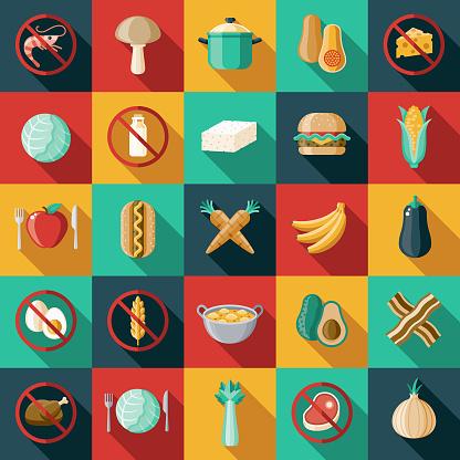 Vegetarisch Veganflaches Designiconset Stock Vektor Art und mehr Bilder von Allergie