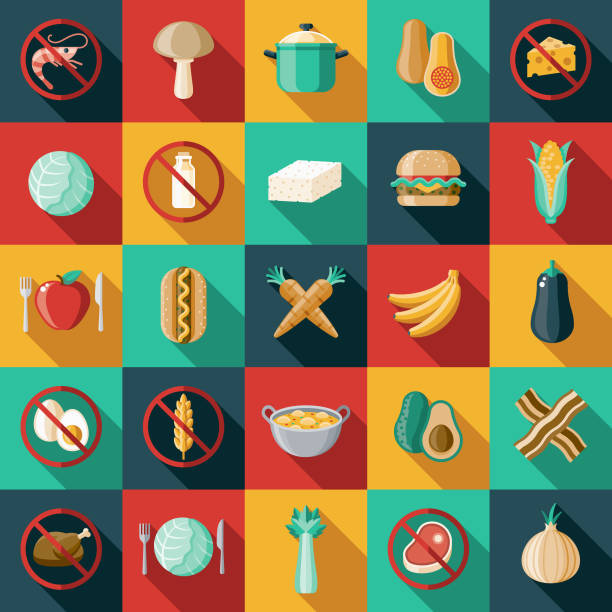 Vegetarian Vegan Flat Design Icon Set A flat design/thin line icon on a colored background. Color swatches are global so it's easy to edit and change the colors. File is built in CMYK for optimal printing and the background is on a separate layer. avocado clipart stock illustrations