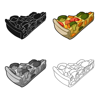Vegetarian Vegetable Piepie Of Vegetables Without Meat For Vegetariansvegetarian Dishes Single Icon In Cartoon Style Vector Symbol Stock Web Illustration - Arte vetorial de stock e mais imagens de Abstrato