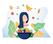 Vegetarianism and dieting concept banner for mobile app or advertising blog. Vector illustration of young woman eating healthy vegetarian salad. Healthy vegan food lifestyle. Vegetarian happy woman