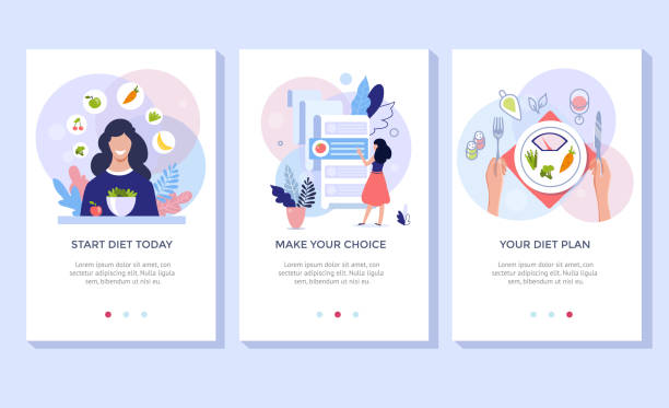 Vegetarianism and dieting concept banner set. Vegetarianism and dieting concept banner set, mobile app templates. Vector illustration of young woman eating healthy vegetarian salad. weight loss stock illustrations