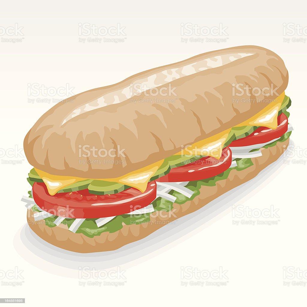 Veggie Submarine Sandwich royalty-free stock vector art