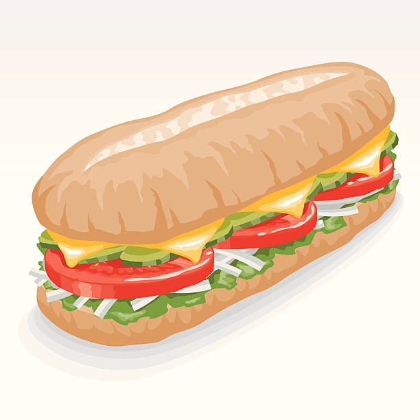 veggie submarine sandwich - sub sandwich stock illustrations, clip art, cartoons, & icons