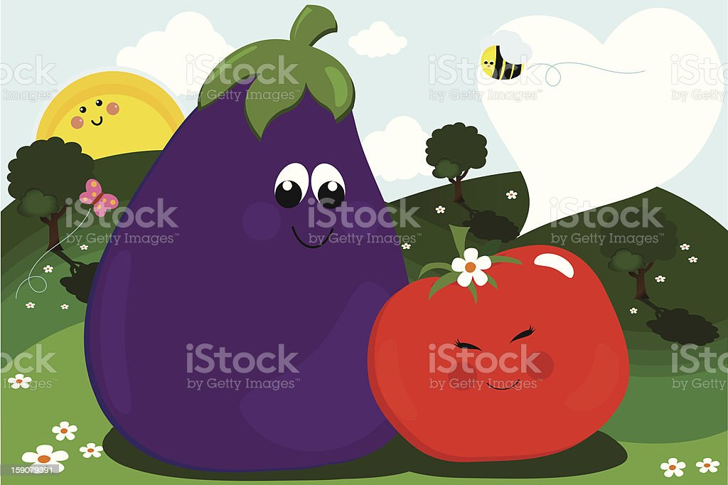 Veggies in Love vector art illustration