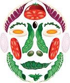Face formed by vegetal elements.