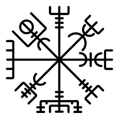 Vegvisir runic compass galdrastav Navigation compass symbol icon black color vector illustration flat style image