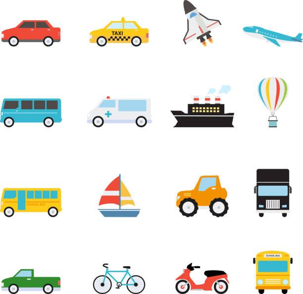 ilustrações, clipart, desenhos animados e ícones de veículo e transporte ícone definir ilustração vetorial - ônibus escolares