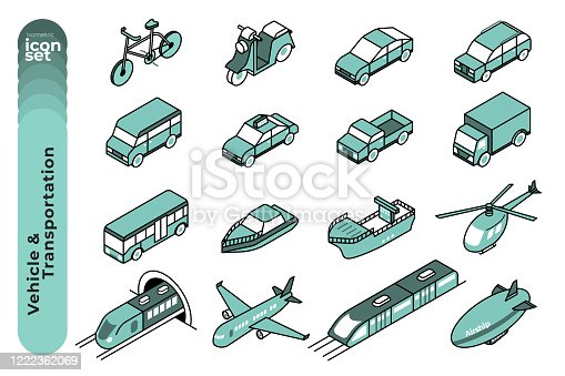 The mono colour outline icon illustration set of vehicles and transportations such as sedan, SUVs, bicycle, plane, Ship, helicopter and so on.