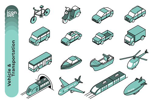 Vehicle and Transportation Mono Colour Outline Icon Set on White Background. Vector Stock Illustration.
