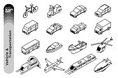The outline icon illustration set of vehicles and transportations such as sedan, SUVs, bicycle, plane, Ship, helicopter and so on.