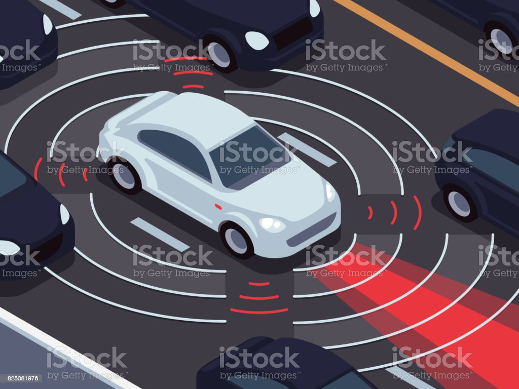 Vehicle autonomous driving technology. Car assistant and traffic monitoring system vector concept vector art illustration