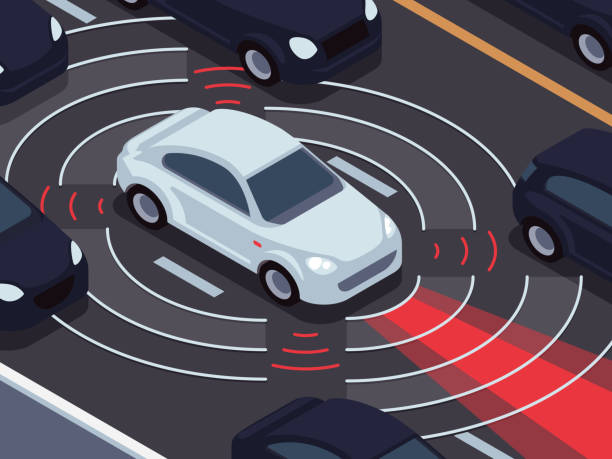 vehicle autonomous driving technology. car assistant and traffic monitoring system vector concept - self driving cars stock illustrations, clip art, cartoons, & icons