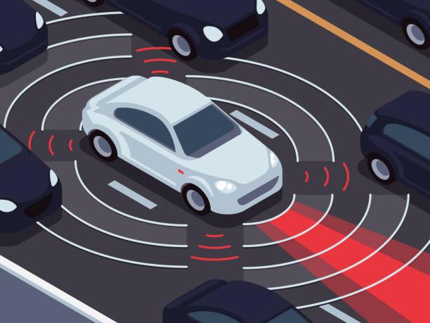 車両の自律走行技術。車アシスタントとトラフィック監視システムのベクトルの概念 - 自動運転車点のイラスト素材/クリップアート素材/マンガ素材/アイコン素材