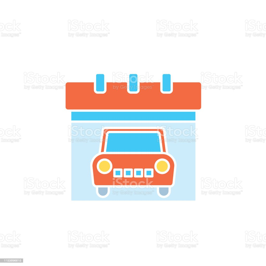 A flat design icon from a set of automotive icons. Vehicle Calendar.