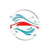 vehicle Carwash eco carwashing logo isolated vector emblem for car cleaning services