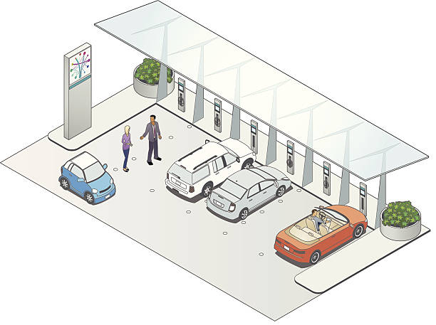 Vehicle Charging Station Illustration of a vehicle charging station, with people, electric cars and other details. electric vehicle charging station stock illustrations