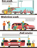Vehicle cleaning service and car washing marketing banners set