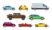 Vehicle collection. Urban transportation in city auto