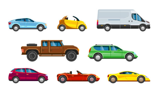 Vehicle collection. Urban transportation in city auto Vehicle collection. Urban transportation in city auto passenger car, SUV cabriolet hatchback sedan station wagon and minibus vector colored pictures in flat style car stock illustrations