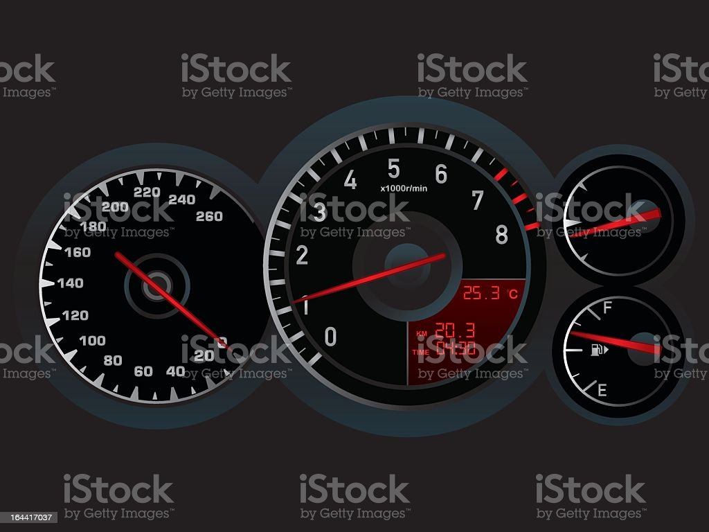 Vehicle dashboard while idling royalty-free stock vector art