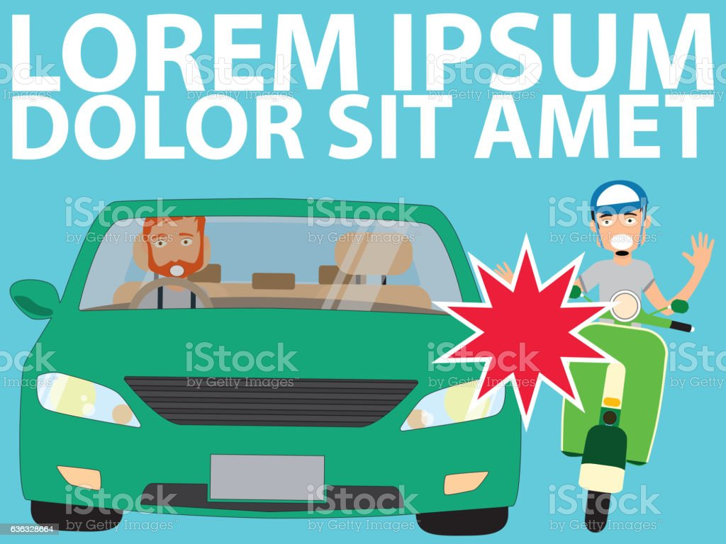 vehicle driver and Issue with a Moped. vector art illustration