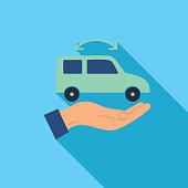 Vehicle Exchange People Thin Line Icon RideSharing Concept