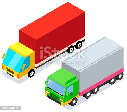 istock Vehicle for transpportation and shipping. Delivery of parcels by transport. Postal cargo trucks 1328446989