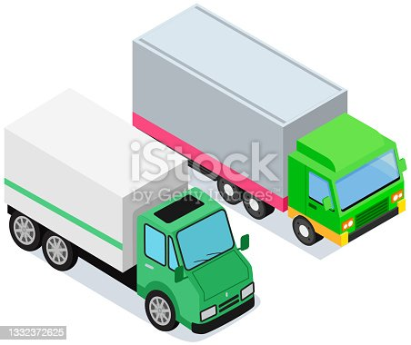 istock Vehicle for transpportation and shipping. Delivery of parcels by transport. Postal cargo trucks 1332372625