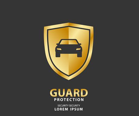 Vehicle Icon Luxury Shield Auto Car Gold Guard Insurance ...