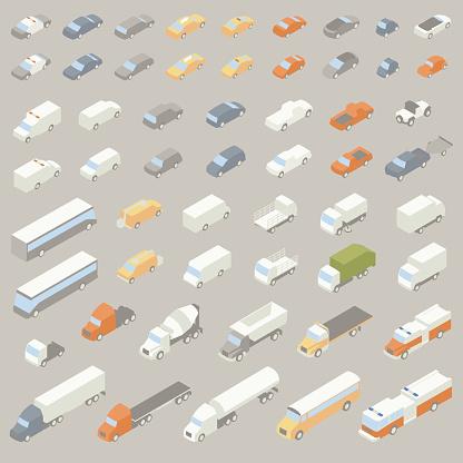 Vehicle Icons Isometric Stock Illustration - Download Image Now