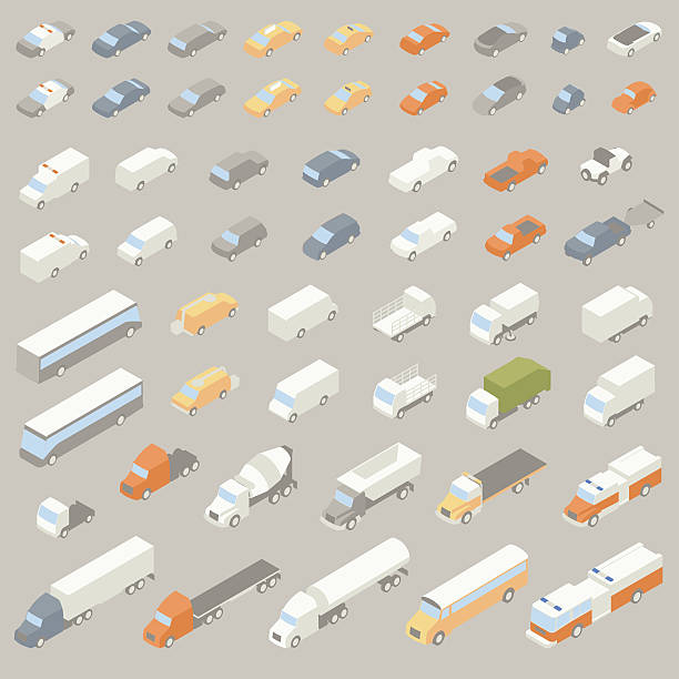 Vehicle Icons Isometric 55 road vehicle icons include: police car, sedan, station wagon, taxi, hybrid, electric vehicle, sports car, compact or micro car, convertible, classic car, ambulance, van, sport utility vehicle, minivan, utility truck, pickup truck, 4x4 off road vehicle, truck with trailer, city bus or charter bus, utility van with cherry picker, box truck, flatbed, street sweeper, garbage truck, truck cab, cement truck, dump truck, flatbed tow truck, fire engine, 18 wheeler, tanker truck, and school bus. Illustrations presented in isometric view. hybrid vehicle stock illustrations