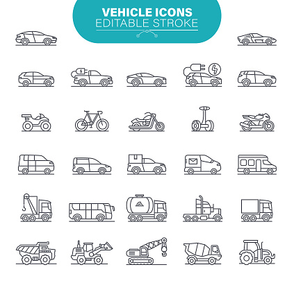 Vehicle Icons. Set contains symbol as Transportation, Car, Pick-up Truck, Smart Cars, Autonomous Cars, Illustration