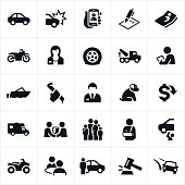 Icons representing vehicle or auto insurance. The icons include several vehicles including a car, motorcycle, boat, motorhome and ATV as well as a crash, accident, insurance agent, contract, roadside assistance, tow truck, flat tire, insurance adjuster, theft, pet, family, auto repair, injury and other related themes.