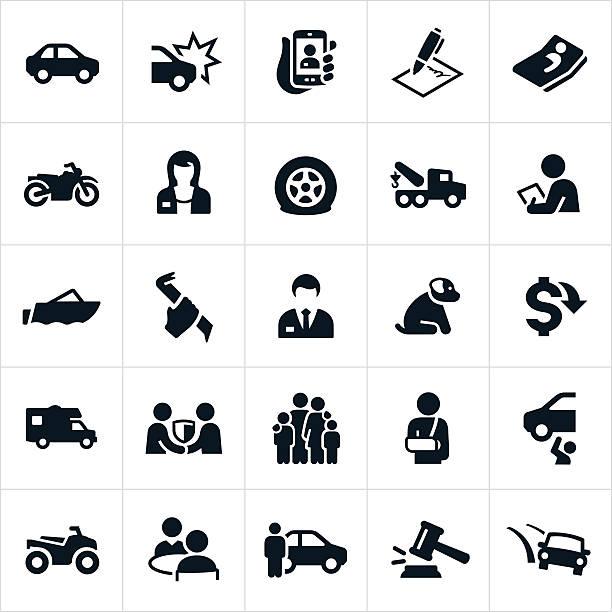 Vehicle Insurance icons vector art illustration