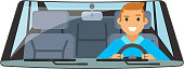 Vehicle interior driver car wheel ride driving isolated flat design