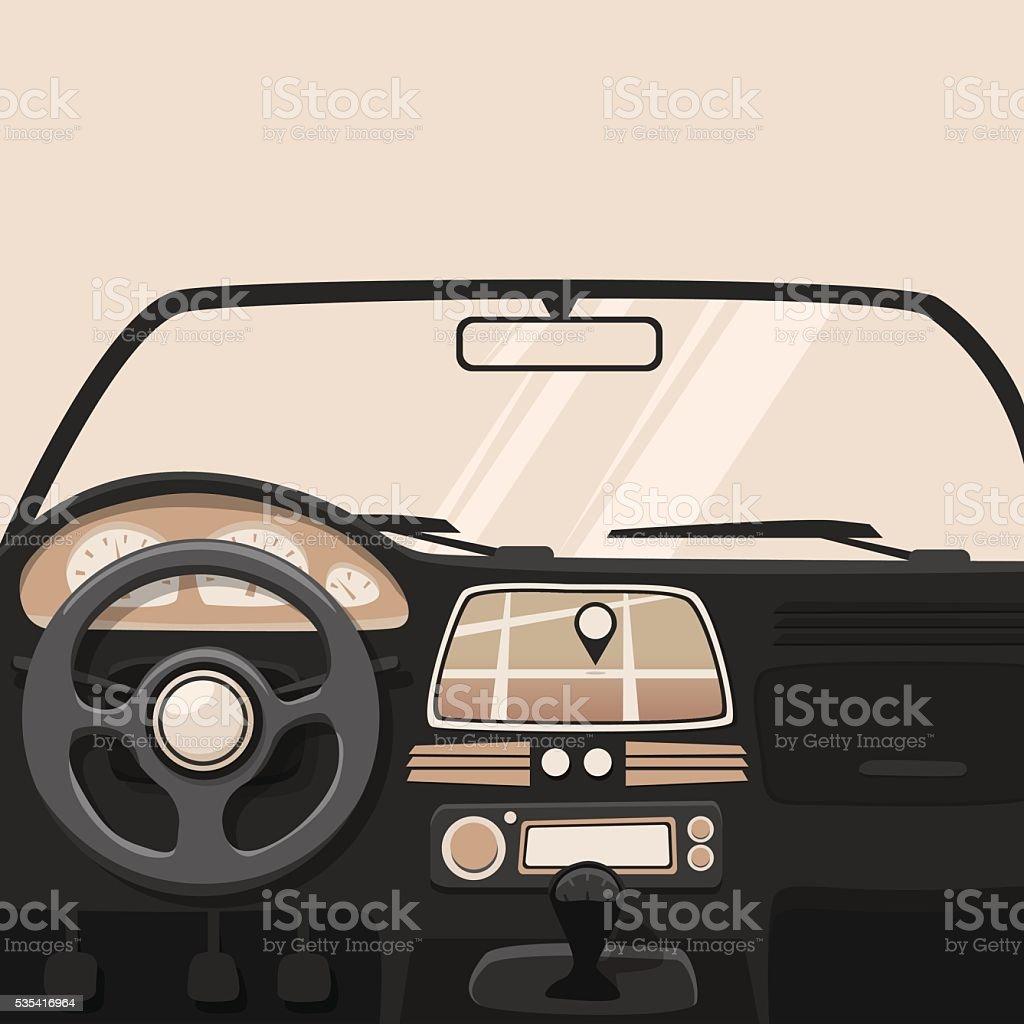 Fahrzeug innen. Im Auto. Vektor-cartoon-illustration – Vektorgrafik
