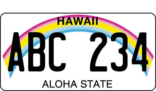 vehicle licence plates marking in Hawaii, in the United States of America