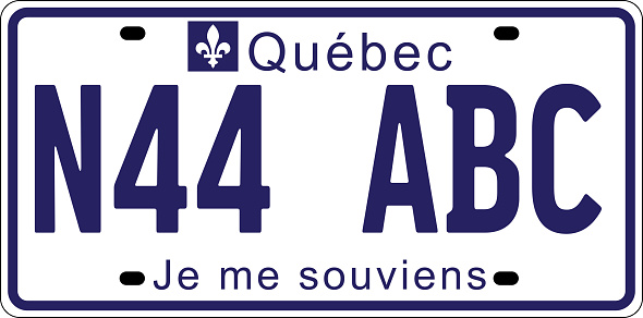 vehicle licence plates marking in Quebec, Canada