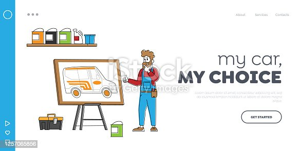istock Vehicle Modification at Auto Service Landing Page Template. Engineer Mechanic Character Presenting Design for Car Tuning 1257065856