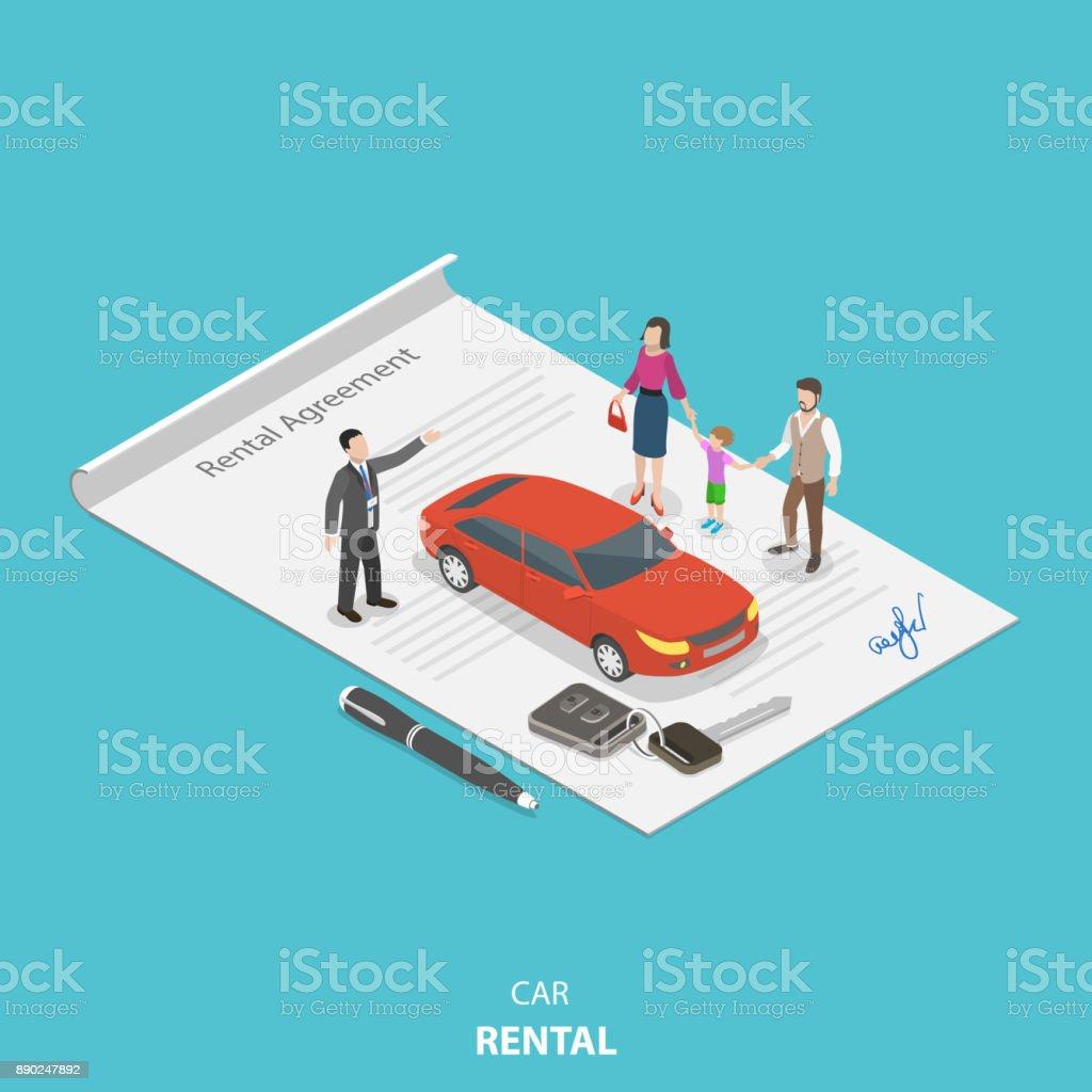 Fahrzeug Vermietung Wohnung isometrische Vektor-Konzept. – Vektorgrafik
