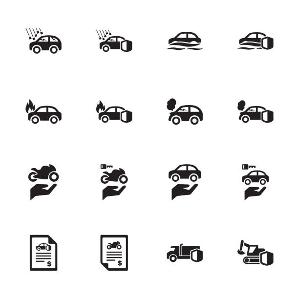 Vehicle Risk & Insurance Icons - Set 1 Protection - Vehicle Risk & Insurance Icons - Set 1 hailstorm stock illustrations